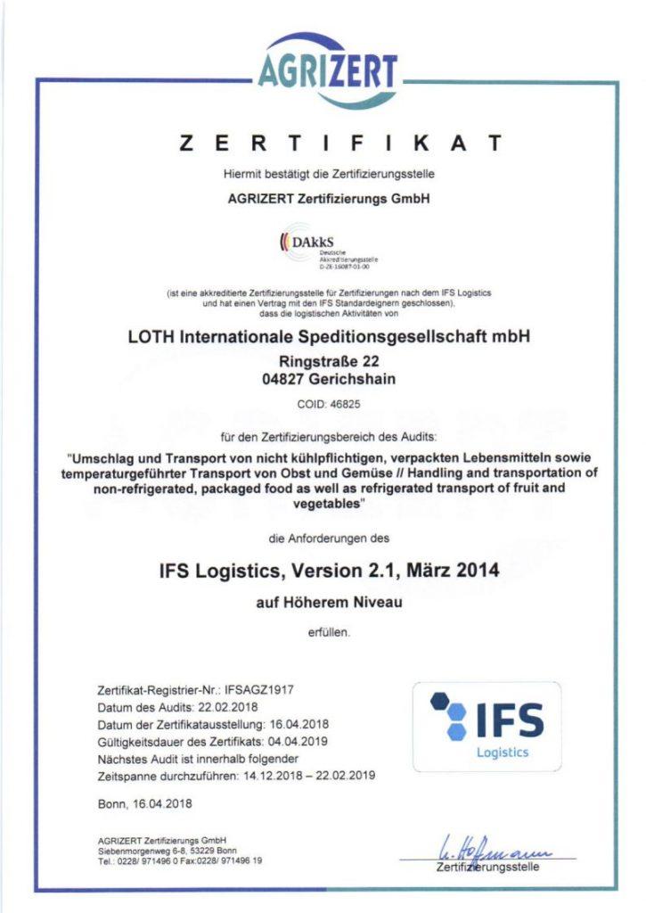 IFS Logistics Zertifikat